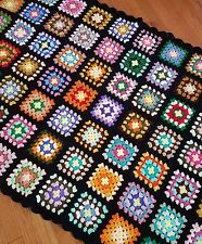 Black Multi-Color Granny Square Afghan Crocheted Throw Lap Couch Blanket 41x58