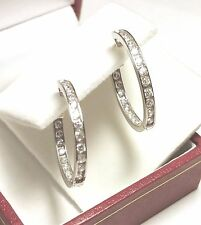 10K SOLID WHITE GOLD..Large 21MM Earrings w/22 Channel Set Cubic Zirconia Stones