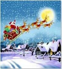 Father Christmas in Flying Sleigh With Reindeer Xmas Santa Shower Curtains