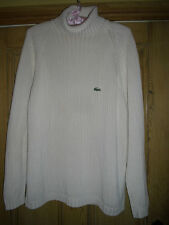 LACOSTE RIBBED POLO NECK JUMPER, XLARGE, CREAM COLOUR WITH GREEN LOGO