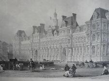 Hotel de Ville de PARIS GRAVURE ORIGINALE d'aprés T.ALLOM XIXéme