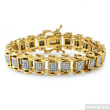Gold IP Stainless Steel CZ Iced Out Mens Bike Bracelet