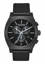 *BRAND NEW* NIXON WATCH THE TIME TELLER CHRONO LEATHER ALL BLACK WHITE A1164756