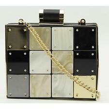 Halston Heritage Novelty Metal Box Evening Bag Women Gold Defect  18233