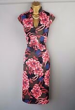 Karen Millen dress wiggle oriental fan floral Bodycon UK 8
