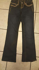 LA Idol Rhinestone Crystal Bling Bootcut Jeans Sz 5  Appliqued Design Whiskered