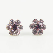 14k white Gold plated small Swarovski crystals stud purple flowers earrings