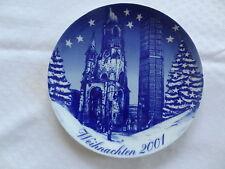 Weihnachtsteller 2001 Wandteller blau Porzellan Winterling Kaiser Wilhelm Kirche