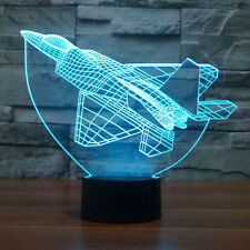 7 Colors Change Spaceship Airplane LED Table Light 3D Illusion Night Light Gifts