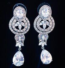 EARRING using Swarovski Crystal Dangle Drop Wedding Bridal Rhodium Silver CZ51