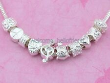 Wholesale 100pcs Silver Plated Bulk Lots Mix Charms Beads Fit Bracelet SY05