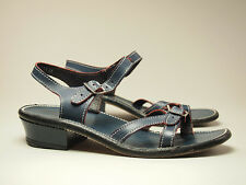 1970s SCHOLL Vintage Navy All-Leather Buckle Sandals Women's size 7 Narrow