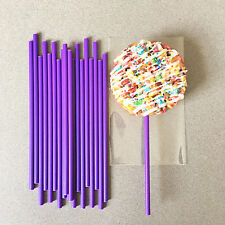 "50 Plastic Purple Cake Pop Sticks, Long Purple Lollipop Sticks - 6"" x 5/32"""