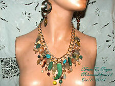 Artisan ARTURO E.REYNA  GEMSTONE JADE AGATE MULTI COLOR CHARMS BIB/NECKLACE SET