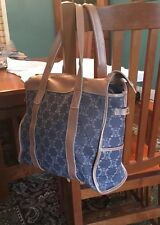 CELINE Handbag Tote Shopper Purse Blue Logo Denim Copper Leather 2 cosmetic bags