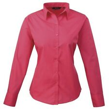 Premier PR300 Women's poplin long sleeve blouse  Plain Work Shirt Sizes 6-26