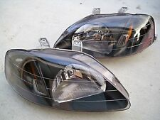 99-00 Honda Civic EK EM JDM Black Housing Headlights w/ Amber Reflector Hatch Si