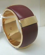 NEW $915 Chloe' Bracelet Deep Red Grape Wine Leather Calfskin Gold Bangle Small