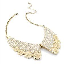 Gold Tone con flores crema & Perlas Collar Estilo Gargantilla Collar de Declaración Nuevo