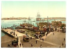 2 Victorian Views Portsmouth Harbour Pier Town Hall Old Photos Pictures Prints
