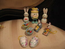 Vintage Wood Easter Rabbit, Duck, Eggs Figurines Holiday Ornaments, Cake Toppers