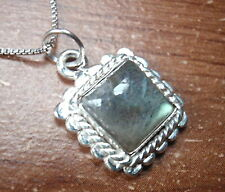 Labradorite Pendant 925 Sterling Silver Dots & Rope Style Accented Small u247c