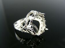 R27  RING SETTING STERLING SILVER, SIZE 7.5, 14X10 MM OVAL STONE