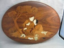 Vtg wood inlaid plaque. Romantic couple in India