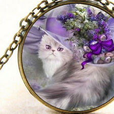 New Lady Cat in Purple Floral Hat, Cabochon Pendant Necklace Feline Fashion Gift