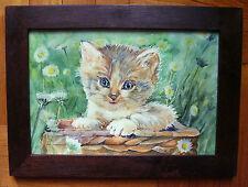 ACQUERELLO GATTO NEL CESTINO - watercolor with cat