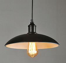 Retro Vintage Pendant Ceiling Light Black Metal Lampshade Fitting Edison Bulb