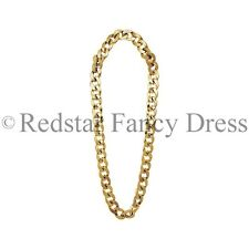 PIMP GOLD CHAIN NECKLACE FANCY DRESS ACCESSORY CHAV MEDALLION BLING 1980S