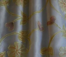 "Hand Painted Embroidered, Ivory 100% Silk Organza Fabric 44"" W, By Yard (EB-960)"