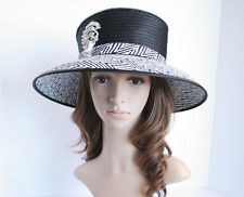 2014 NEW Church Derby Wedding Medium Satin & Rhinestone Pin Hat Black/White