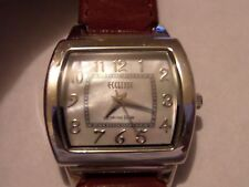 ECCLISSI MOTHER OF PEARL WATCH STERLING SILVER 22590 RED LEATHER BAND