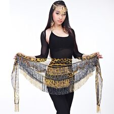 SH15# Belly Dance Costume Tribal Beaded Tassel Leopard Hip Scarf Belt
