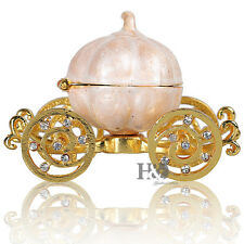 H&D Crystal Metal Pumpkin Carriage Trinket Box Collection Wedding Favor Decor