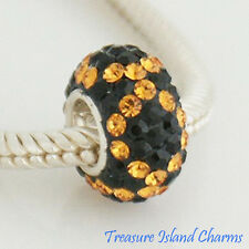 YELLOW TOPAZ on BLACK CZ CRYSTAL .925 Sterling Silver EUROPEAN Bead Charm