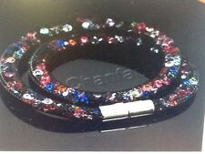 MULTICOLOUR TWO WRAP STARDUST MESH MAGNETIC BRACELET SWAROVSKI CRYSTAL ELEMENTS