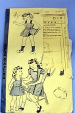 Vintage Hollywood Pattern #1634 Girls Dress Size 8 w/2 styles of Bodice 1940's?