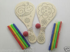 2 x Wooden Colour in Biff Bat & Ball & Felt Pens Children to Paint & Play With