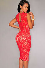 Sexy Ladies RED Lace  Bodycon  Party Evening Dress with Underlay Size 10