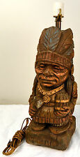 VINTAGE ~SMILING~NATIVE AMERICAN CIGAR STORE INDIAN CHIEF LAMP MAN CAVE TOMAHAWK
