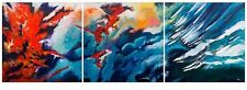 """STUNNING ORIGINAL BRYONY HARRISON """"Forest Fire Triptych""""  ABSTRACT PAINTING"""