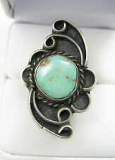 """Vintage Navajo Green Turquoise Heavy Sterling Silver 1 1/2"""" Ring Sz 6.5"""
