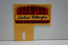 "License Plate Topper EGEBERG INDIAN MOTORCYCLES  4"" High by 4"" Wide"
