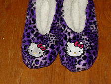 HELLO KITTY Lounge Bedroom Slippers Sanrio LEOPARD Girls Large Shoes Sz 4 or 5 @