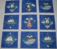 9 Lovely NEW Ships & Lighthouse Quilt Top Blocks Boats
