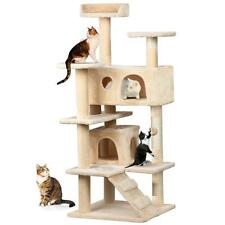 "Cat Tree Furniture Kitten House Play Tower Scratcher 52""Beige Condo Post Bed Pet"