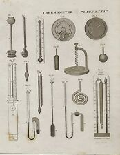 THERMOMETER 1800 's Engraving of Temperature Reading 1832 Antique Picture